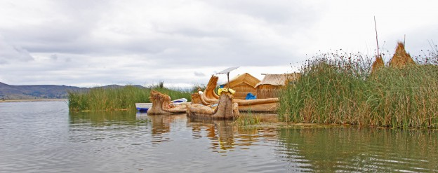 Floating island on Lake Titicaca